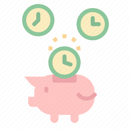 coin, money, piggy, time, timer icon