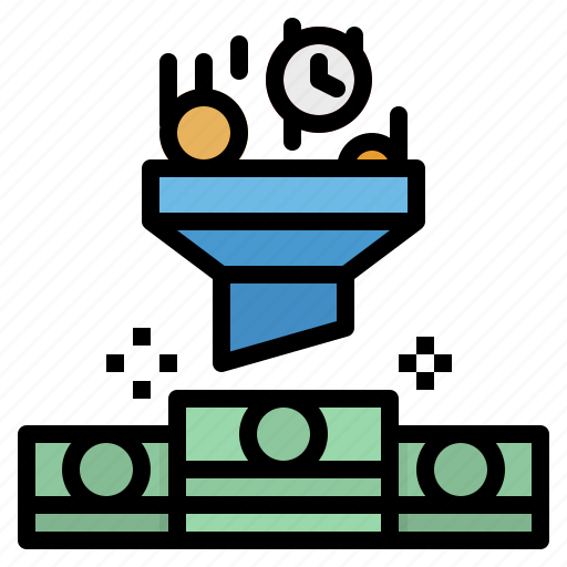coin, filter, funnel, money, roi icon