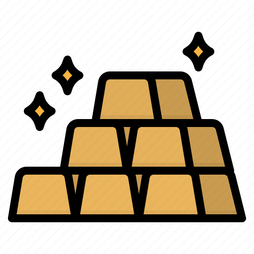 bank, business, finance, gold, ingot icon