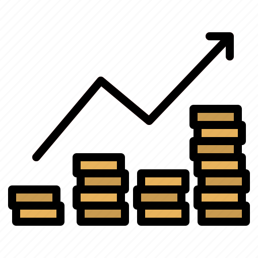analytics, business, coin, graph, zoom icon