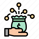 bag, hand, investment, money, profit