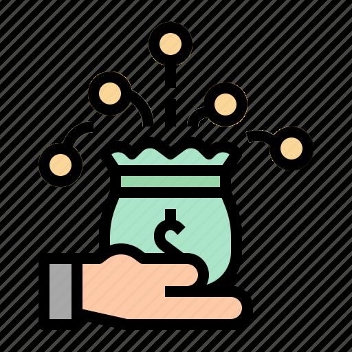 bag, hand, investment, money, profit icon