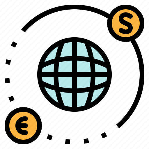 business, dollar, euro, globe, trading icon