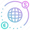 business, dollar, euro, globe, trading icon