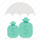 funds, insurance, investment, protection, umbrella icon
