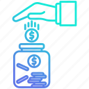 banking, charity, investment, jar, saving icon