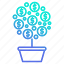 growth, investment, money, plant, tree icon