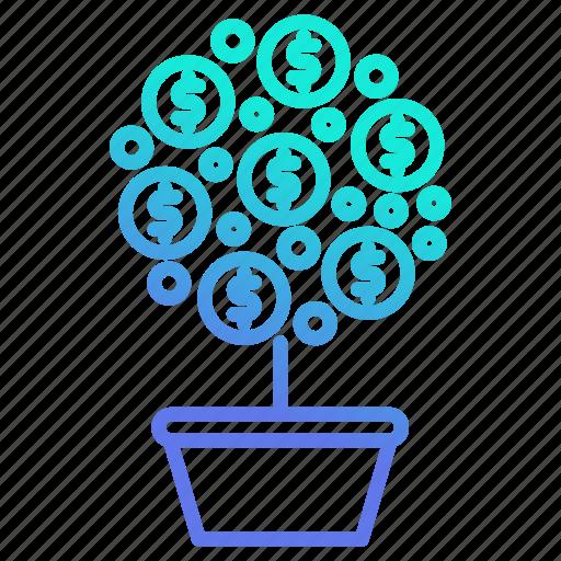 growth, investment, money, plant, tree icon