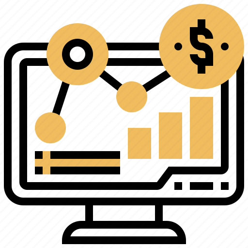 analytics, computer, financial, investment, statistic icon
