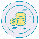 business, coins, dollar, finance, investment icon