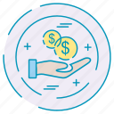business, finance, hand, investment, money icon