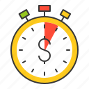 business, finance, fund, investment, stop watch, time is money icon