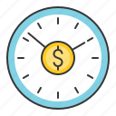 business, finance, fund, investment, time is money icon