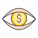 business, eye, finance, fund, investment, surveillance icon