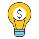bulb, business, finance, fund, idea, investment, investment ideas icon