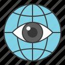 business, eye, finance, fund, globe, investment, surveillance icon