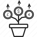 currency, finance, growth, money icon