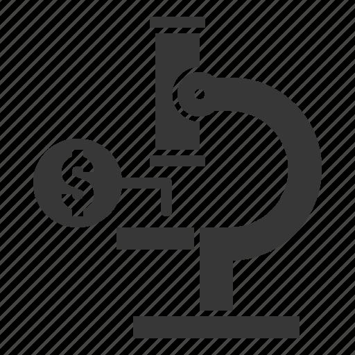 analyze, finance, fund, investment, microscope icon