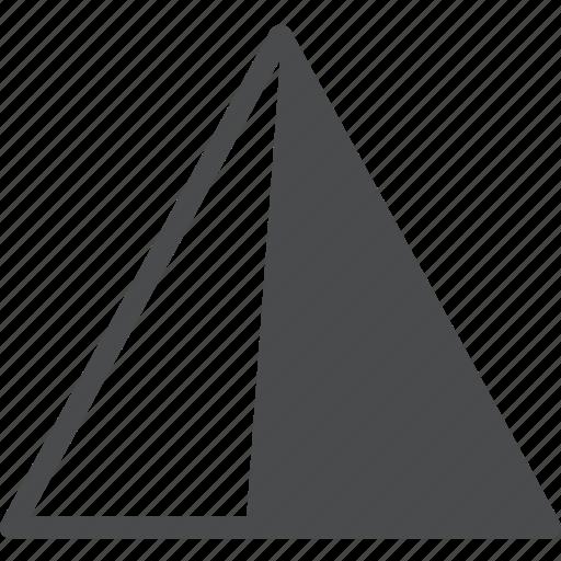 contrast, sharpen, tool, triangle icon