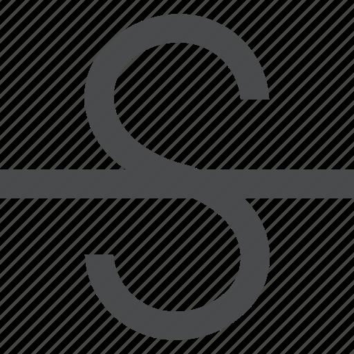 line, strikethrough, text, through icon