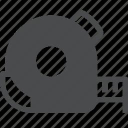 length, measure, measurement, ruler, tape icon