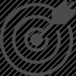 aim, arrow, bullseye, focus, marketing, target icon