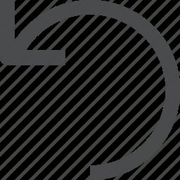 back, go back, previous, rotate, undo icon