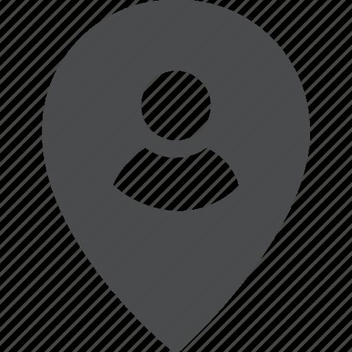 find, locate, location, person, user icon