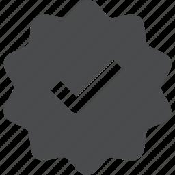 achievement, badge, checkmark, complete, success, verified, verify icon