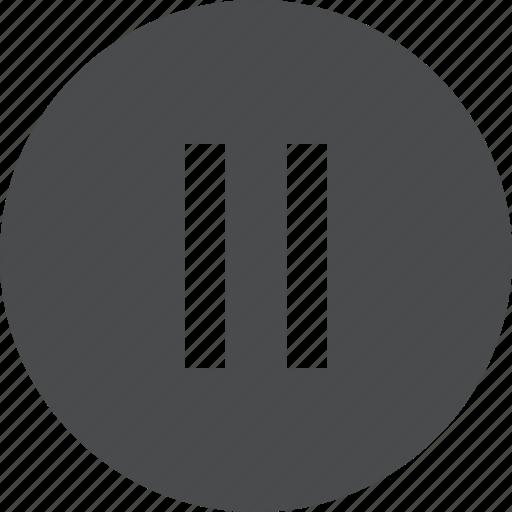 circle, media, pause, video icon