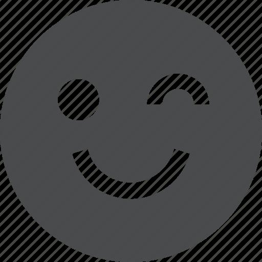 emoji, emotion, face, wink icon