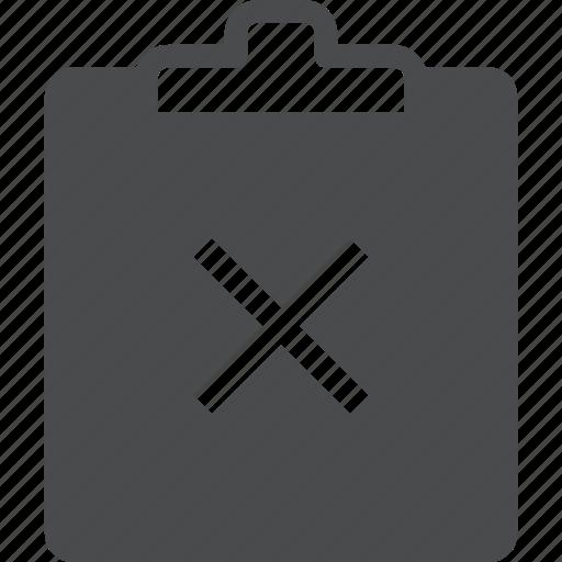 clipboard, delete, remove, x icon