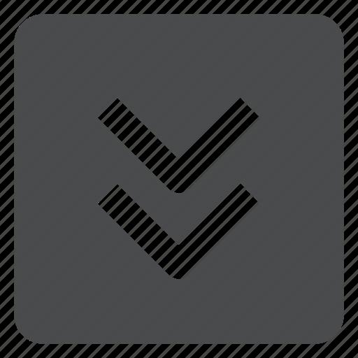 arrows, chevrons, down, square icon
