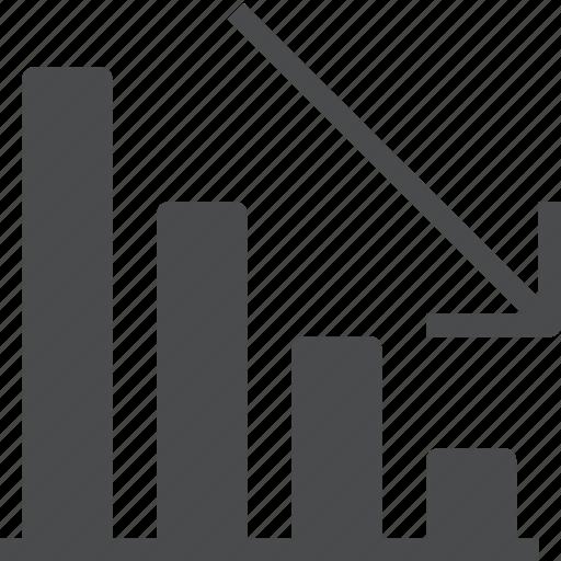 analysis, analytics, bar, decline, decrease, downward, graph icon