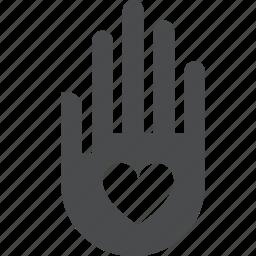 care, compassion, donate, hand, heart, help, peace icon