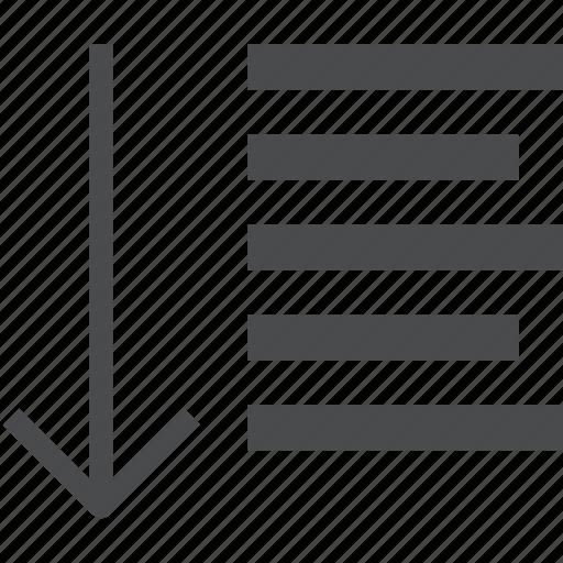 arrow, down, paragraph icon