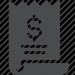 bill, grant, invoice, loan, receipt, voucher icon