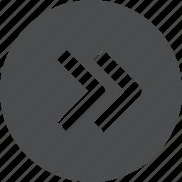 chevrons, circle, next, right icon