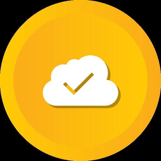 blue, check, cloud, cloudy, computing, data icon