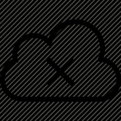 cloud, cloud computing, data storage, error, remove, stop icon, warning icon