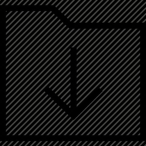 down arrow, download, downloading, files, folder, inbox, storage icon icon