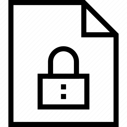 document, file, lock, locked, protect, secure, security icon icon