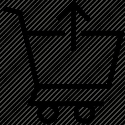 arrow, cart, commerce, shopping, up, upload icon icon