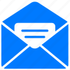 blue, document, email, envelope, letter, mail, message, open icon