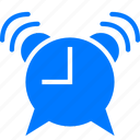 alarm, alarm clock, alert, attention, blue, exclamation, time, timer, wait, wake up, warning, watch icon