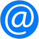 address, at, blue, contact, contacts, e-mail, email, mail, message icon