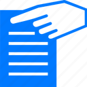 about, blue, document, documents, file, hand, info, information, options, page, paper, point, properties, show, text, view icon
