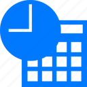 blue, calendar, clock, date, day, event, history, plan, schedule, table, time, time table, timer, timetable, wait, watch icon