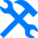 blue, configuration, control, desktop, equipment, hammer, options, preferences, service, settings, setup, spanner, system, tool, tools, wrench icon