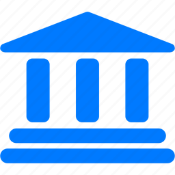 bank, blue, building, business, classic, columns, finance, historical, history, home, house, library, money, office icon
